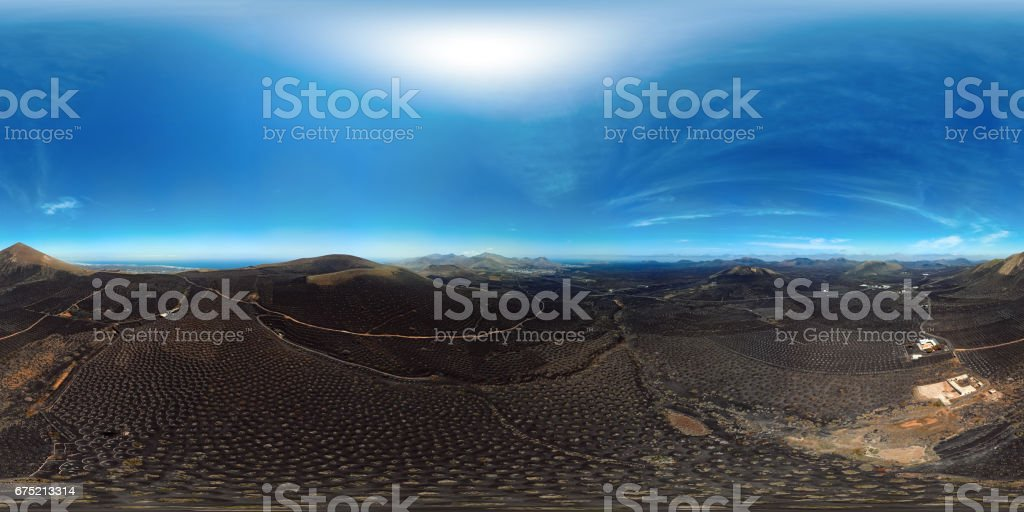 360x180 degree full spherical (equirectangular) aerial panorama of Wine valley of La Geria, Lanzarote, Canary islands stock photo
