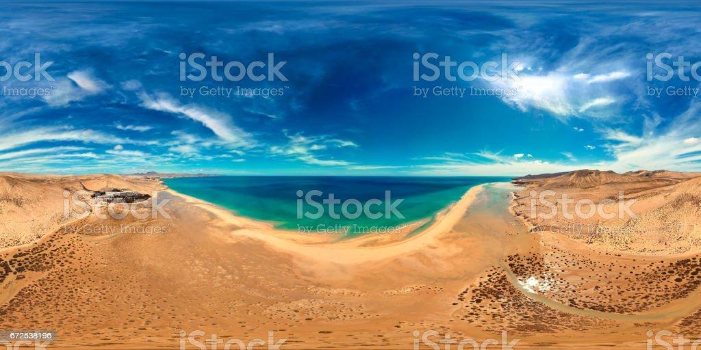 360x180 degree full spherical (equirectangular) panorama of Costa Calma beaches, Fuerteventura, Canary Islands stock photo