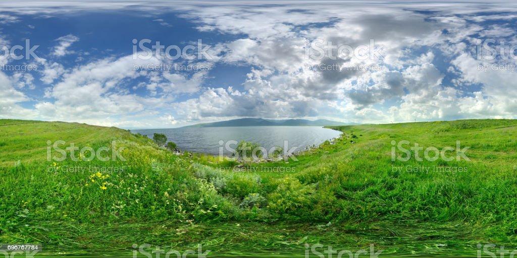 360x180 degree full spherical (equirectangular) panorama of Çıldır Gölü stock photo