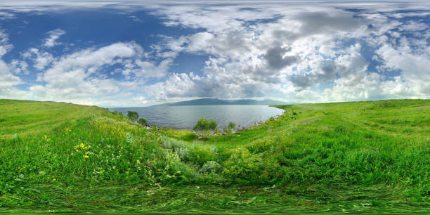 360x180 degree full spherical (equirectangular) panorama of Çıldır Gölü Lake in Ardahan, Turkey Anatolia high dynamic range imaging stock pictures, royalty-free photos & images