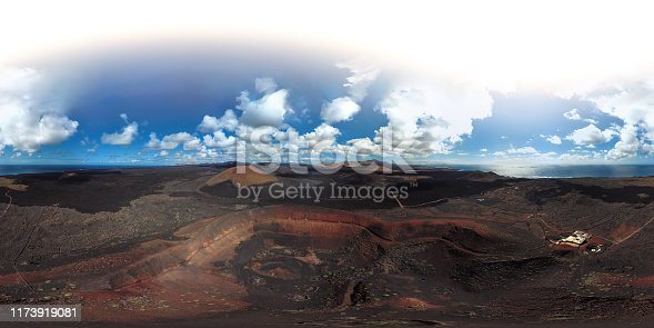 Spherical panorama of Volcanic valley near Timanfaya National Park, Lanzarote, Canary Islands