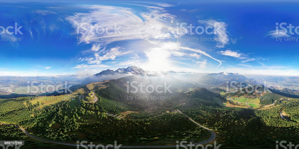 360x180 degree spherical (equirectangular) aerial panorama of Flight over Rossfeld mountain panoramic road, Berchtesgaden, Germany stock photo