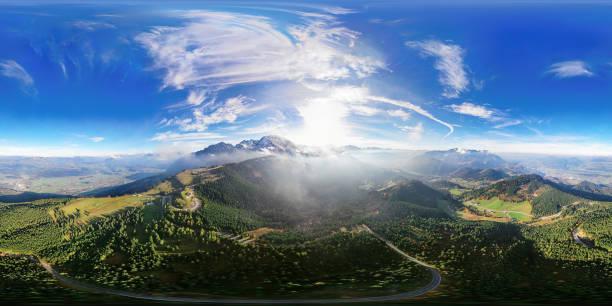 360x180 degree spherical (equirectangular) aerial panorama of Flight over Rossfeld mountain panoramic road, Berchtesgaden, Germany stock photo