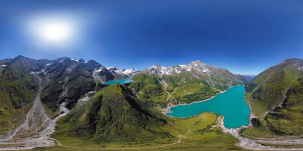 360x180 grados esférico (equirectangular) panorama aéreo de los embalses de alta montaña kaprun mooserboden stausee y wasserfallboden en la tierra de hohe tauern, salzburger, austria. - 360 fotografías e imágenes de stock