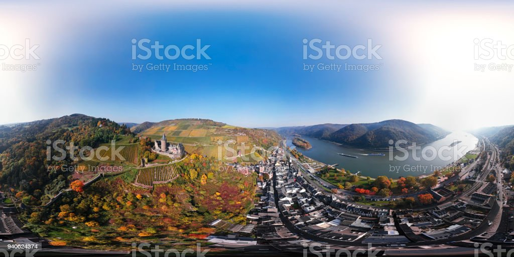 360x180 degree spherical (equirectangular) aerial panorama of Rhine valley and Bacharach town at autumn, Rhineland-Palatinate, Germany stock photo