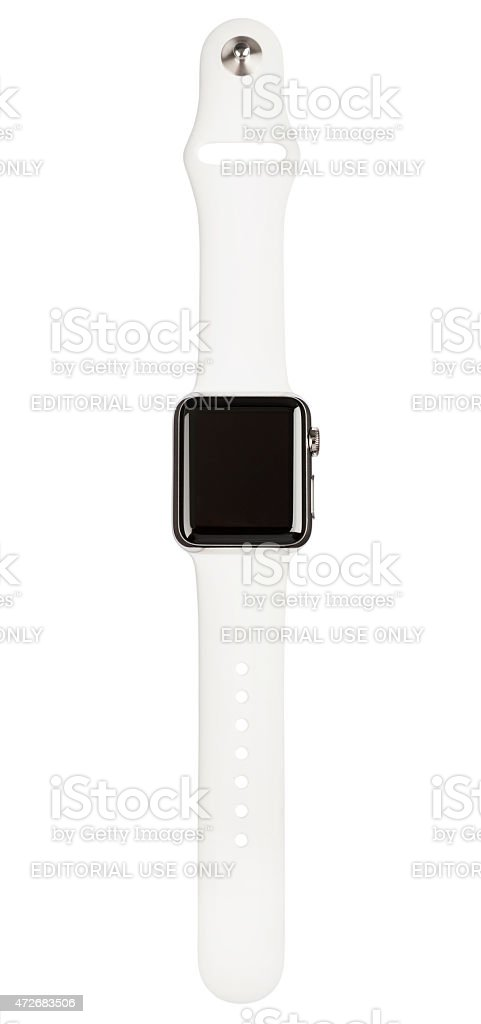 APPLE WATCH 38mm Stainless Steel White Sport Band Clipping Path stock photo