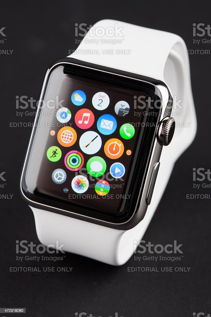 APPLE WATCH 38mm Stainless Steel with White Sport Band stock photo