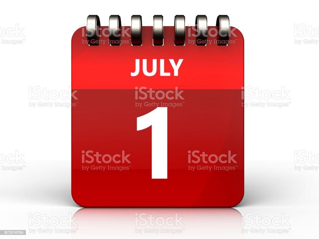 3d 1 july calendar stock photo