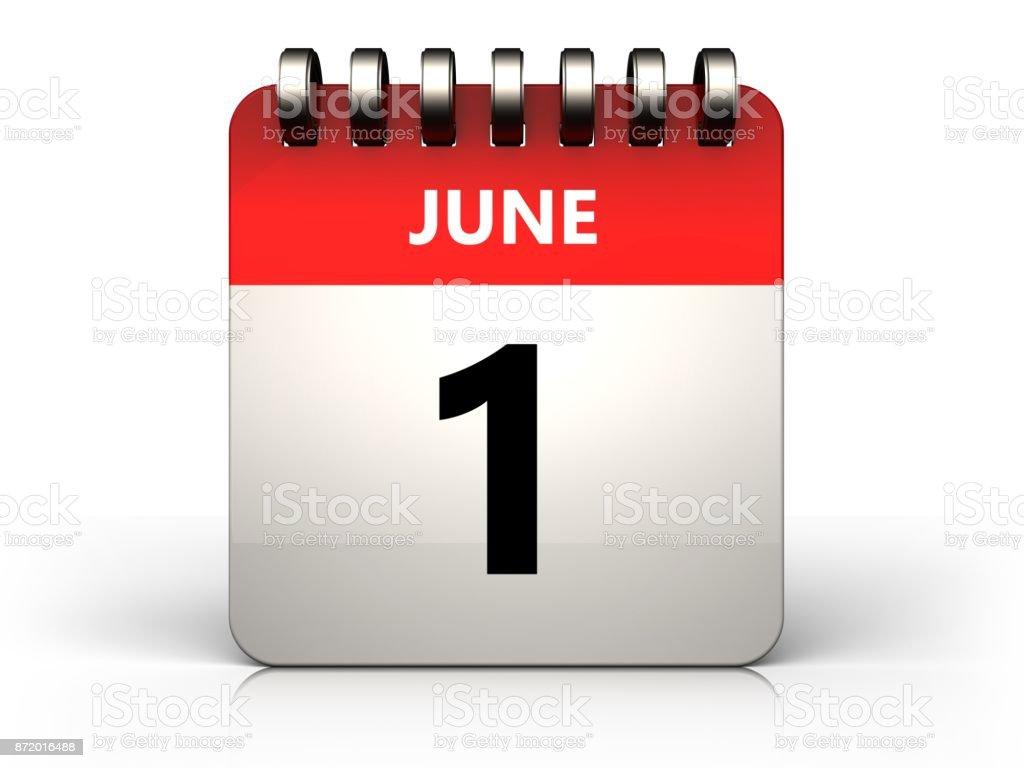3d 1 june calendar stock photo