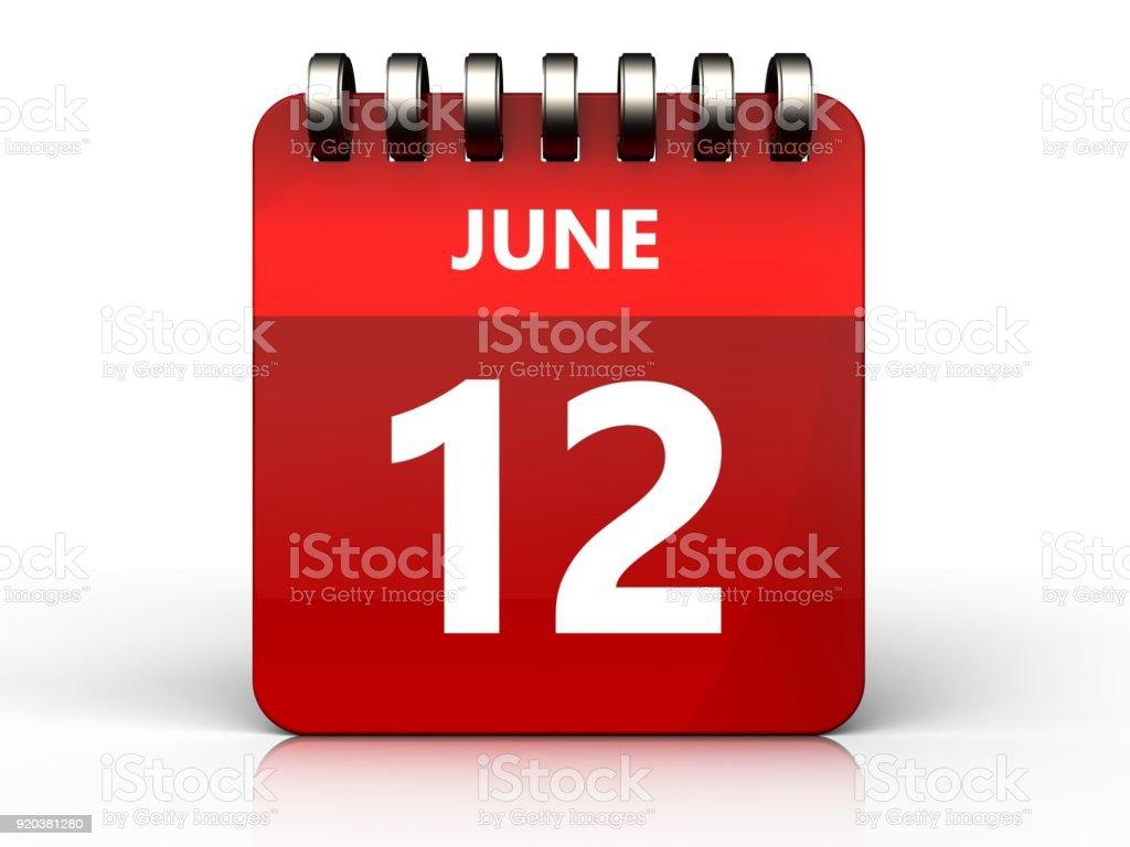 calendário de 12 de junho 3D - foto de acervo