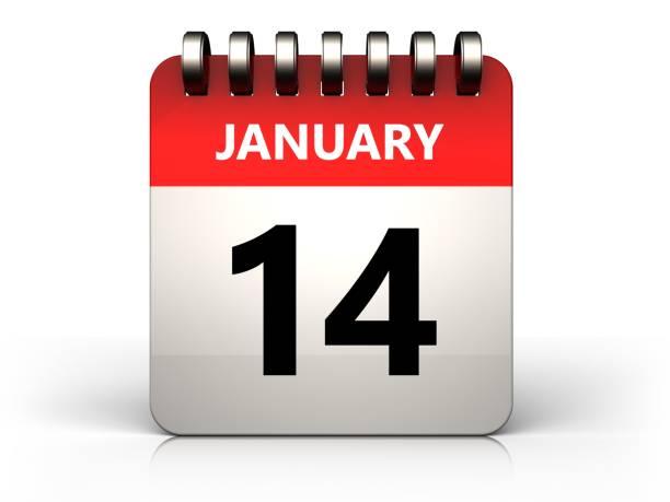 3d 14 january calendar stock photo