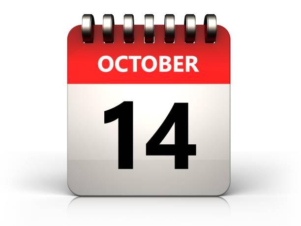 3d 14 october calendar stock photo