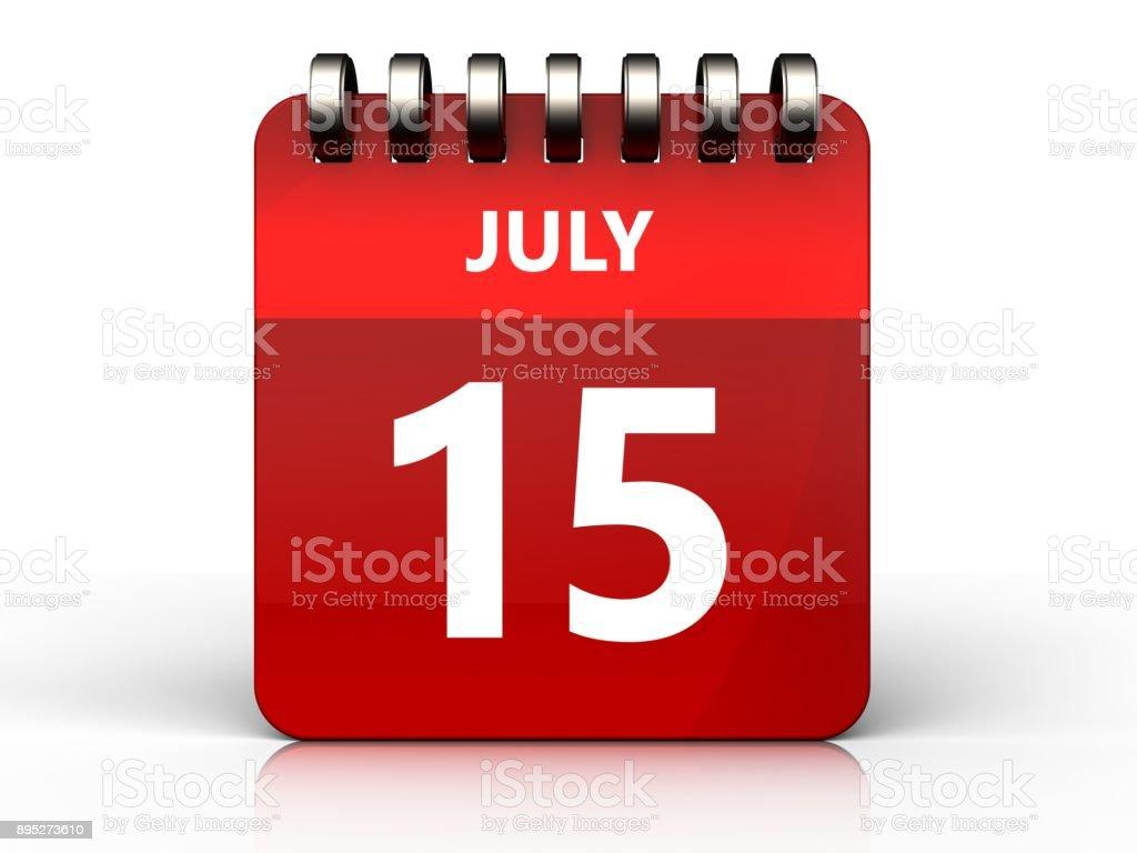 3d 15 july calendar stock photo