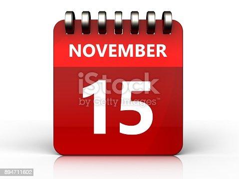 868951648 istock photo 3d 15 november calendar 894711602