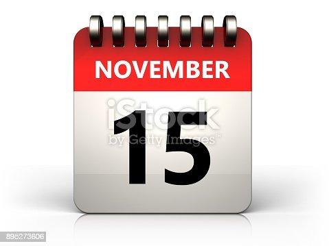 868951648 istock photo 3d 15 november calendar 895273606