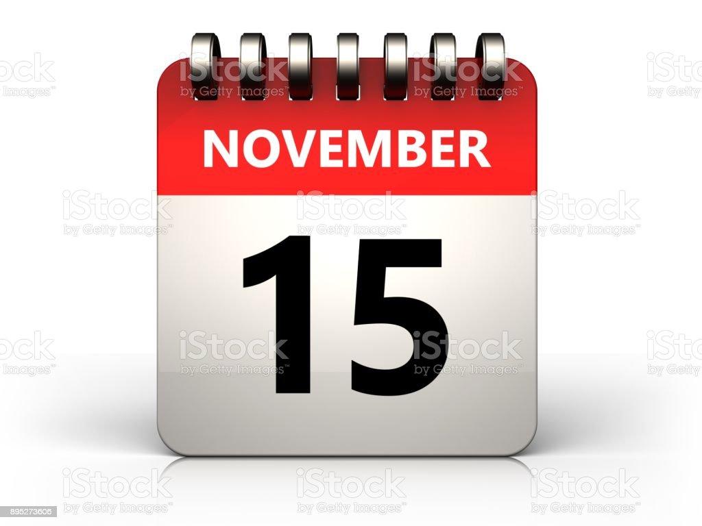 3d 15 november calendar stock photo