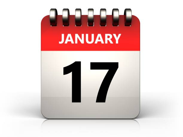 3d 17 january calendar 3d illustration of 17 january calendar over white background 12 17 months stock pictures, royalty-free photos & images