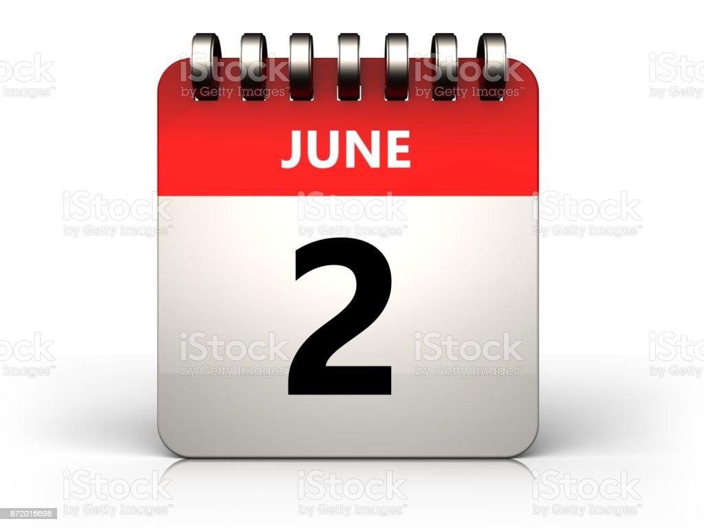 3d 2 june calendar stock photo
