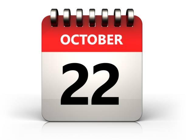 3d 22 october calendar stock photo