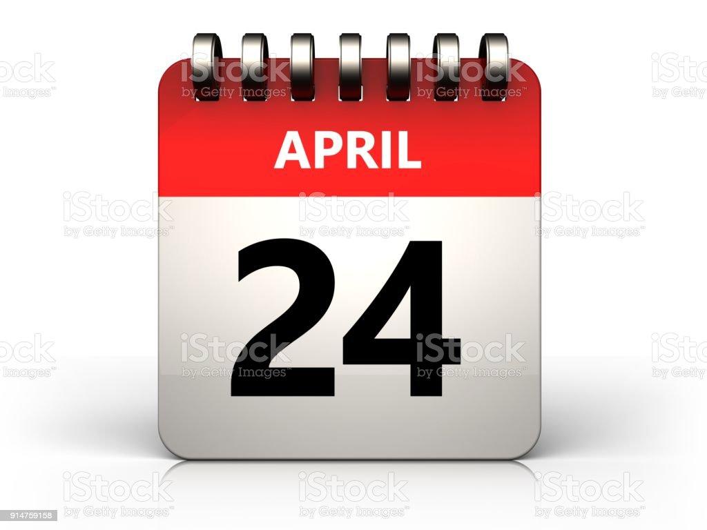 3d 24 april calendar stock photo