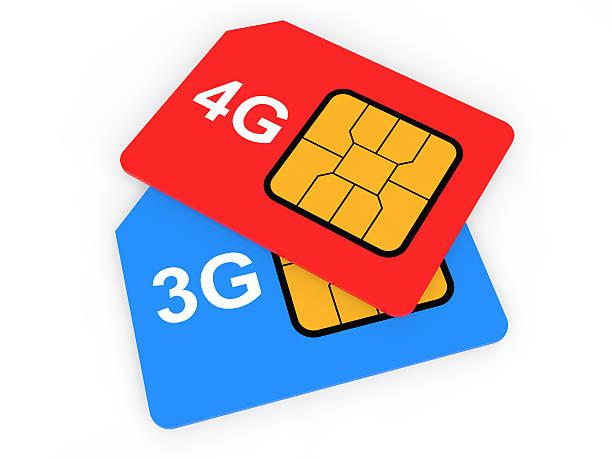 3 d 3 g e 4 g di sim card - 4g foto e immagini stock