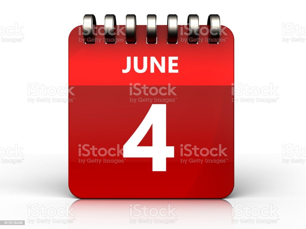 3d 4 june calendar stock photo