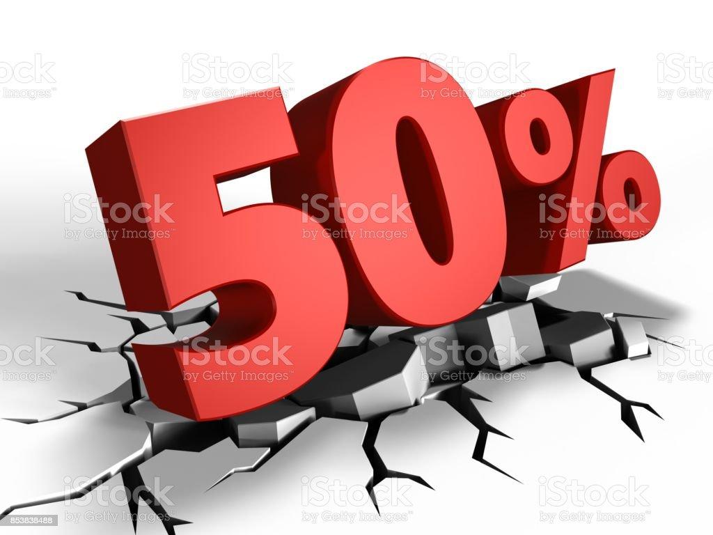 desconto de 50% 3D - foto de acervo
