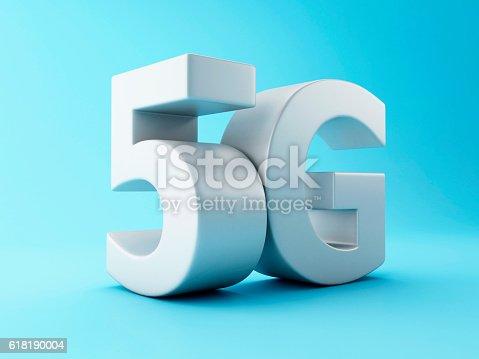 istock 3d 5G wireless technology sign. 618190004