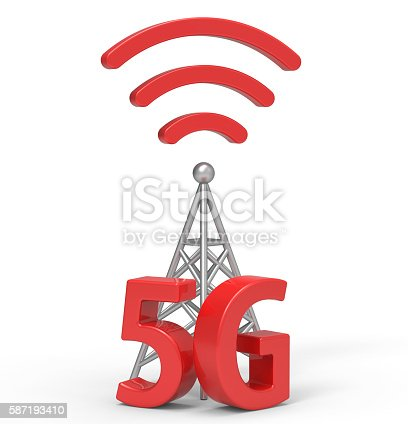 istock 3d 5G with antenna, wireless communication technology 587193410