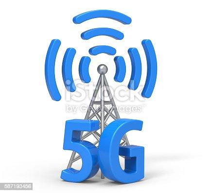 istock 3d 5G with antenna, wireless communication technology 587193456
