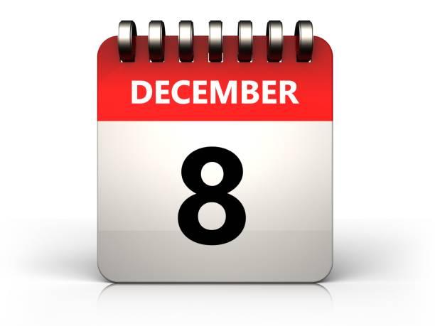 3d 8 dezember kalender - kalender icon stock-fotos und bilder