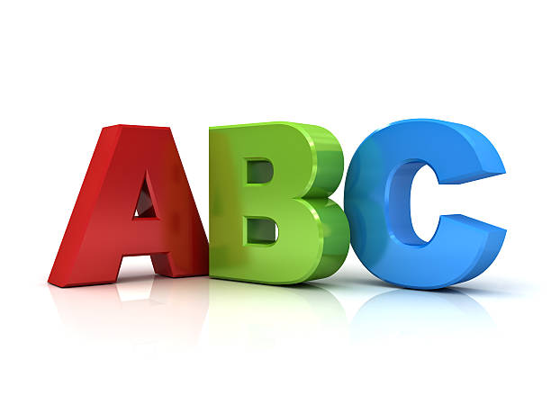 3d abc letters isolated over white - alphabetical order stock pictures, royalty-free photos & images