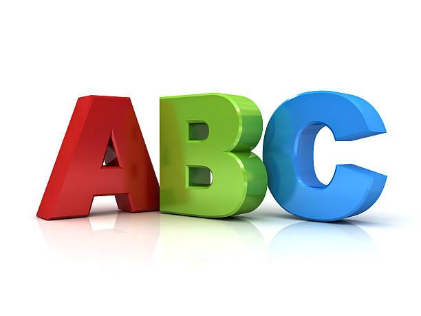 3 d isolé sur blanc lettres ABC - Photo