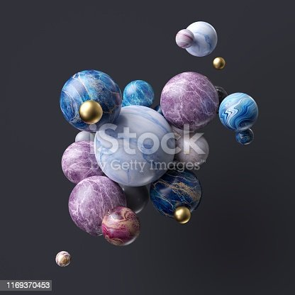 istock 3d abstract assorted marble balls isolated on black background 1169370453