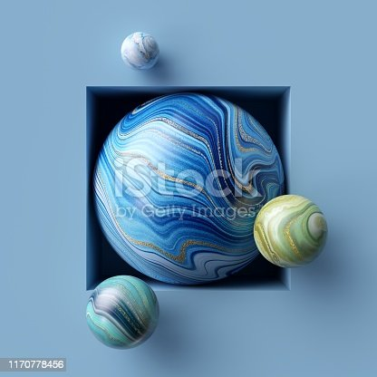 istock 3d abstract background, assorted marble balls inside square niche 1170778456
