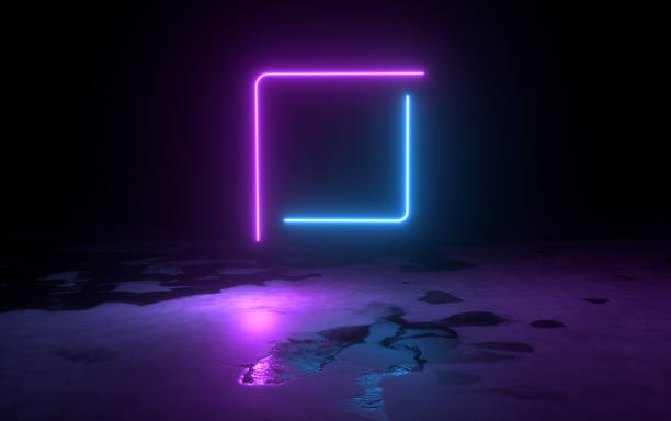 3d abstract background render, pink blue neon light fly on the ground, retrowave and synthwave illustration. stock photo