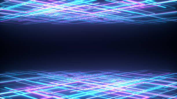 3d abstract background render, pink neon lines fly in space, retrowave and synthwave illustration. stock photo