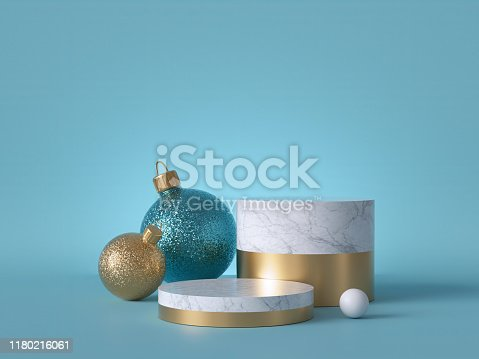 istock 3d abstract background with Christmas ornaments. Glass balls with glitter. Round white marble podium, blank pedestal steps, empty space. Cylinder platform. Product showcase mockup. 1180216061