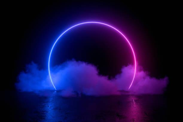 3d abstrakcyjne tło z ultrafioletowymi neonami, pustą ramką, kosmicznym krajobrazem, świecącymi drzwiami tunelu z dymem - neon zdjęcia i obrazy z banku zdjęć
