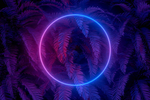 3d abstract background with ultraviolet neon lights, empty frame, glowing tunnel door with palm tree - foto stock