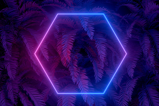 3d abstract background with ultraviolet neon lights, empty frame, glowing tunnel door with palm tree