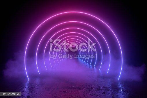 3d abstract background with neon lights, empty frame, cosmic landscape glowing lines with smoke on black background. purple and blue colors. Ultraviolet light.