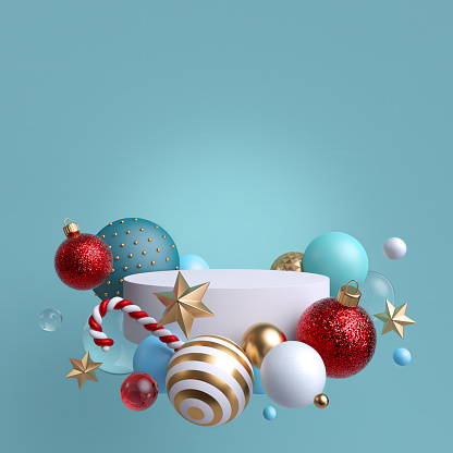 istock 3d abstract blank blue background with Christmas ornaments. Glass balls, candy cane, gold and crystal stars. Round white podium, blank pedestal, empty space. Cylinder platform. Product showcase mockup 1180216034