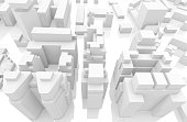 3d abstract contemporary white cityscape