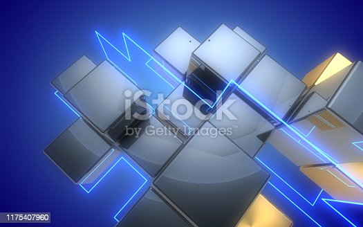 3d abstract cubes background with neon light.3d illustration