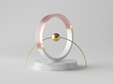 istock 3d abstract decor, small gold ball inside decorative ring on marble podium, isolated on white background, rose pink glass, clean minimalist design, sophisticated modern object 1166774348