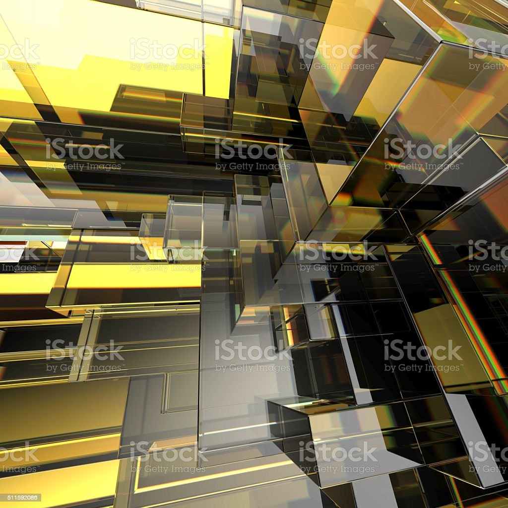 3d abstract geometric background, gold blocks stock photo