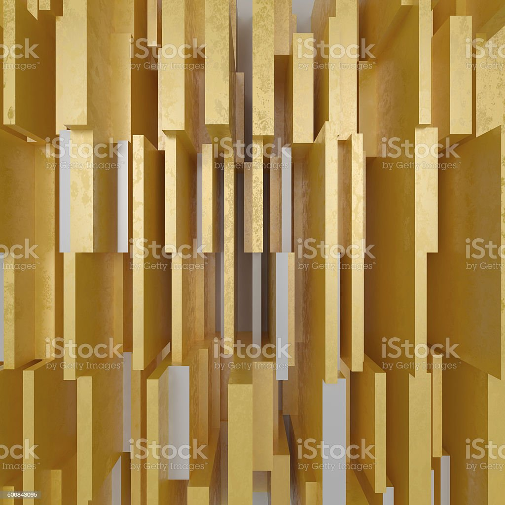 3d abstract geometric background with golden fragments stock photo