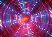 3d abstract geometric background with neon lights, round tunnel