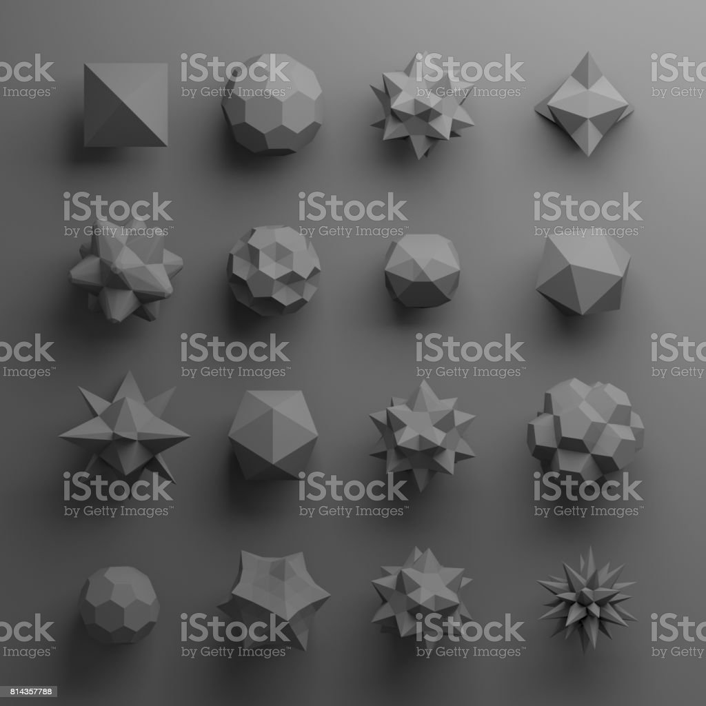 3d abstract geometrical shapes, glass grey beads, crystals, gems and jewels stock photo